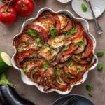 Tarta z pomidorami bakłażanem i serem mozzarella