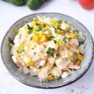 Sałatka z porem, jajkiem i żółtym serem