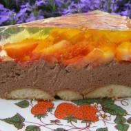 kakaowy sernik na zimno z truskawkami,galaretką...