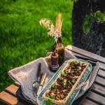 Tarta z dynią i miodowo-musztardowymi kurkami
