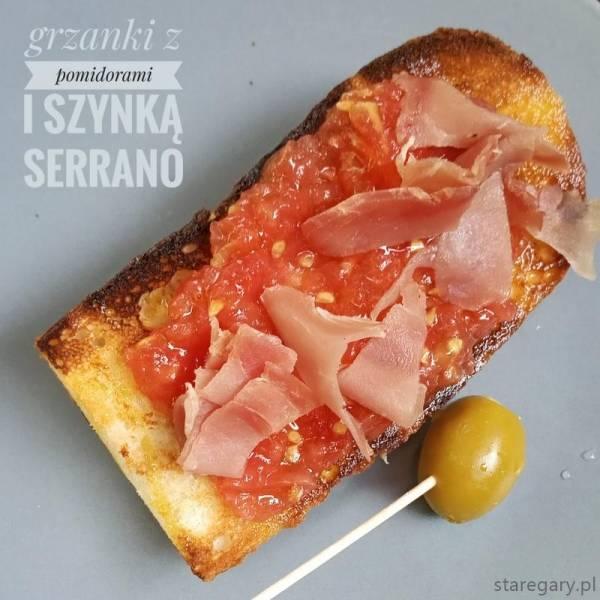Hiszpańskie grzanki z pomidorami i szynką Serrano