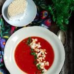 Krem pomidorowy z wedzonym twarogiem