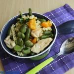 Makaronowa sałatka z bobem i fasolką szparagową