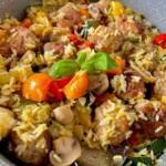 Risotto z klopsikami wieprzowymi i warzywami