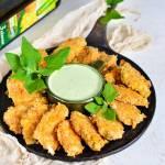 Nuggetsy z kurczaka z lekkim sosem szpinakowym