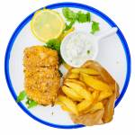 Pieczone fish and chips