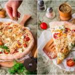 Pizza cztery sery z pomidorkami koktajlowymi