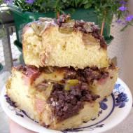 pyszne ciasto drożdżowe z rabarbarem i cynamonową kruszonką...