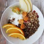 Granola, pieczone płatki owsiane z suszonymi owocami i orzechami