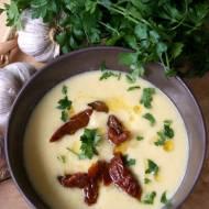 Zupa krem z ciecierzycy z czosnkiem i suszonymi pomidorami